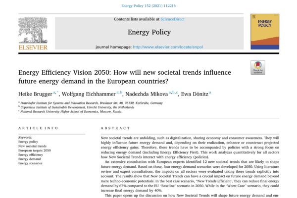 PAPER: Energy Efficiency Vision 2050: How will new societal trends influence future energy demand in the European countries?